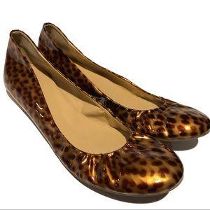 J. Crew• Tortoise/Cheetah Patent Leather Flat• 9.5